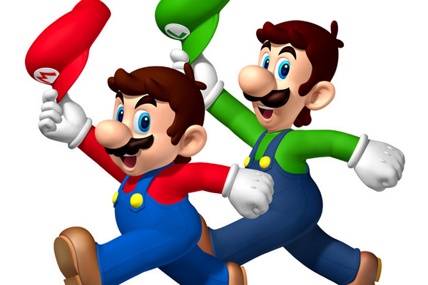 Mario en Luigi zwaaien vrolijk met hun pet.